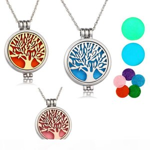"""Tree of life Aromatherapy Essential Oil Diffuser Necklace Locket Pendant 316L Stainless Steel Jewelry with 24"""" Chain and 6 Washable NE5"""