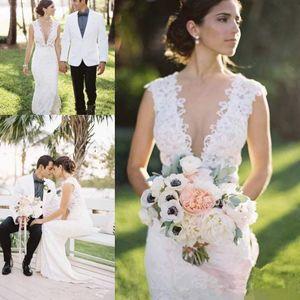 Bohemian Mermaid Wedding Dresses 2019 V-neck Vintage Full Lace Applique Floor length Country Garden Trumpet Bridal Wedding Gown