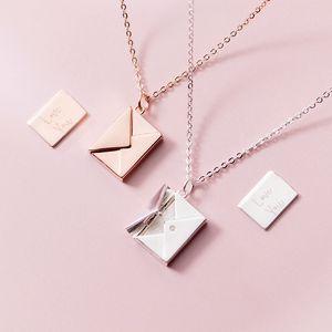 MLOVEACC Genuine 925 Sterling Silver Colgante Collar de mujer Sobre Amante Letra Colgante Mejores regalos para novia 1493 Q2