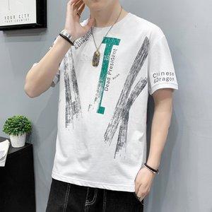 Luxury T-shirts 2021 Short T-shirt Pure Cotton Loose Half Sleeve Korean Fashion Personalized Simple Graffiti Summer Men's Wear