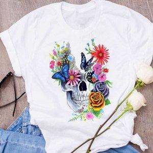 탑스 여성 그래픽 두개골 얼굴 하라주쿠 카와이 꽃 인쇄 할로윈 의류 레이디 티셔츠 여성의 티셔츠
