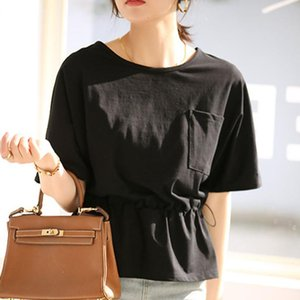 T-Shirt Plain 2021 Women Short-sleeve Round Neck Simple Wearing Thin Design Ladies Fashion OL Commuting Loose Tee Tops Women's