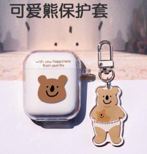 For Airpods 1 2 Cases Soft Silicone Thin Clear Cute Cartoon Brown Koala Bear Earphone Apple Airpod Pro Case Cover Funda