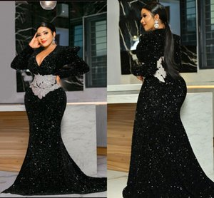 V Neck Plus Size Evening Dresses Full Sleeves Mermaid Prom Dress For Women Applique Sequin Black Party Gown 2021 Kim Kardashian