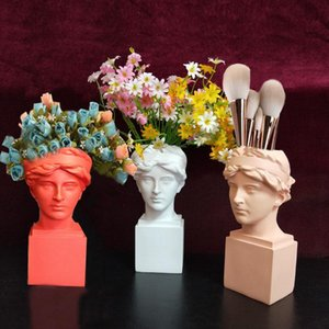 Home Decoration Resin Vase Flower Pot Storage Box Organizer Pen Holder Makeup Brush European Style Decorative Sculpture Vases