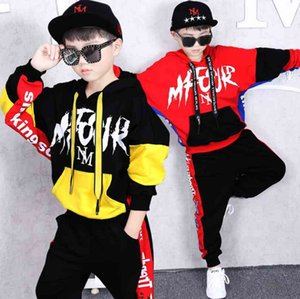 2 Pieces kids Spring Outfits Hip hip Dance clothing set Cotton hoodies &Harem Pants Boys Girls Tracksuits For 10 12 14 16 Years Y1117