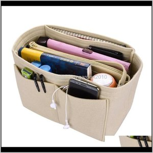 Women Make Up Organizer Insert Bag High Capacity For Handbag Felt Cosmetic Bags Fit Various Brand Sml Storage 0Hxul 3Qyw1