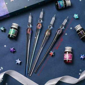 1Set Planet Theme Dip Pen 4 Color Ink Kit Glass Painting Student Stationery K9FC Fountain Pens