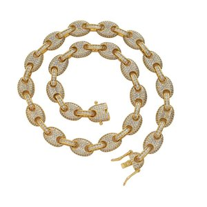 Link, Chain Hip Hop Rose Necklace 12mm Brass Setting CZ Gold Silver Color Iced Out Cubic Zircon For Man Women