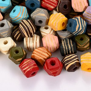 12mm Mixed Stripe Octagon Wood Bead Geometric Polygon Loose Spacer Beads For Jewelry Making DIY Necklace Bracelets