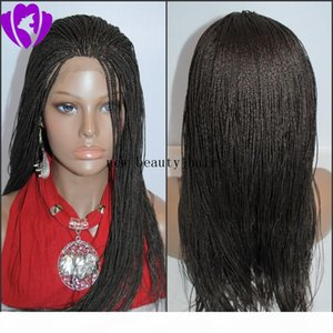 Cheap Synthetic Micro Braided Lace Front Wigs Glueless Long braided Lace Wigs with Baby Hair Natural HairLine for Black Women Half Hand Tied