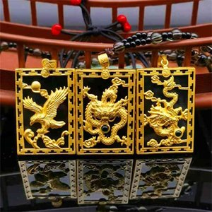 Ancient French silver gilded Hetian Moyu Dragon Pendant inlaid jade eagle square men's gold shop live broadcast
