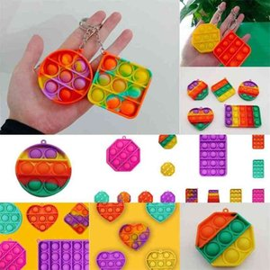 Rainbow Zappeln Bubble Keychain Push Pop Einfache Schlüsselanhänger Sensory Toys Zappeln Puzzle Silikon Squeeze Ball Spannungsentlastung G36JFYV