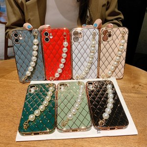 Ladddy Gril Woman Pearl bracelet Phone Cases For iPhone 12 mini 11 pro max xr xs max 7 8 Plus 6D electroplated color cases