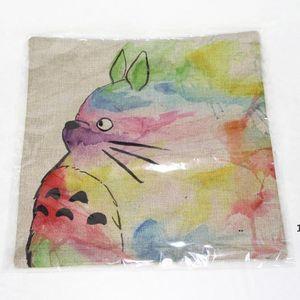 Home Cute Totoro Printed Cotton Linen Waist Throw Pillow Case Pillow Cover Cushion FWD10646
