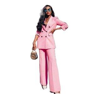 Розовые брюки костюмы 2 шт тонкий подходит для женщин женские женские летний костюм Blazer для набора феминистрая двое