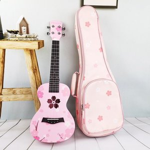 Ukulele female beginner cherry blossom personality pink girls cute 23-inch carbon string children small guitar