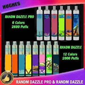 100% autêntico Randm Dazzle Pro Dispositivo Dispositivo Kit 6 ml Pods 2000 2600 Puffs 1100mAh Bateria Vape Bar Penrefilled R e M