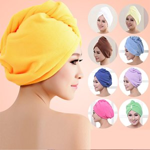 Wholesales Microfibre After Shower Hair Drying Wrap Womens Girls Lady's Towel Quick Dry Hair Hat Cap Turban Head Wrap Bathing Tools