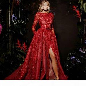 Gorgeous Red Formal Evening Dresses A-Line Long Sleeve Lace Appliques Red Carpet Dress Charming Dubai Sash Side Slit 2018 Prom Dresses