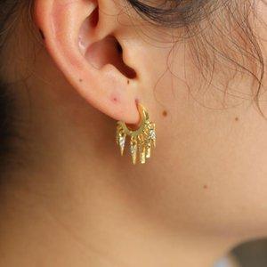 SDZSTONE PENDIENTES DE COLOR DE COLOR DE LOTENCIA SDZSTONE Elegante Tassel de circón de doble encanto para mujeres Sliver Jewelry Stud