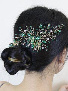 Headpieces Golden Green Rhinestones Wedding Hair Comb Beads Crystal Bride Headbands Silver Women Accessories Bridal Headwear