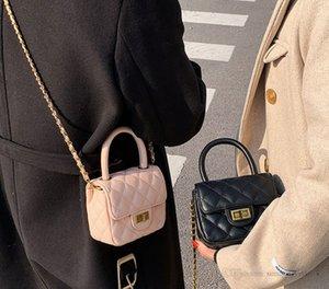 Luxury Girls diamond lattice quilted handbags children metals square lock chain single shoulder bag women crossbody mini purse A7947