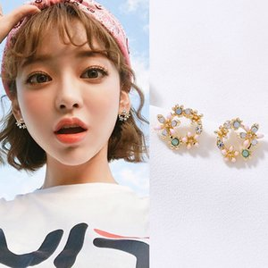 050021 Bohemia Flower Stone Stud Earrings Set For Women Fashion Cubic Zirconia Round Earring Statement Ethnic Party Jewelry Gifts