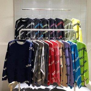 Мужские женские дизайнеры свитера люкс толстовка баланси вышивка трикотаж зимняя одежда классическая серия буква жаккардовый свитер изготовлен из высокого качества