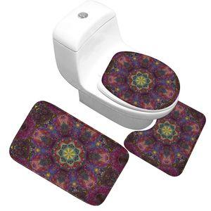 Bath Mat 3 Piece Set Classical Pattern Toilet Cover Foot Pad Non-slip Absorbent Bathroom Flannel Soft Bathr Rug Carpet