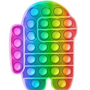 Stress Silver Fidget Push Pop Pop It Bobble Sensory Toys Cartoon Bubbles Board Robot Rainbow Squeeze Palloni Puzzle Finger Fun Squeezy gioco per bambini baby gg39y8pt