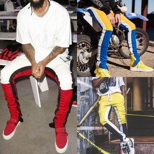 2021 Men's Casual Loose Micro-elastic Mid-waist Color Matching Sports Pants Color Matching Fitness Feet Zipper Trousers