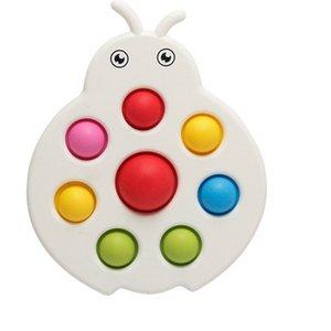 Sensory Fidget Finger Toys Push Pop it Bubble Poppers Board Caterpillar Ladybug Shape Bubbles Puzzle Silicone + Hard PC Stress Relief H41USCB