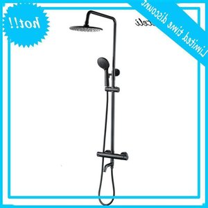 Matte Black Bathroom Faucet Shower 3 Way Thermostatic Twin Head Set 8 Inch Round Style Rainfall Handheld Kit Sets