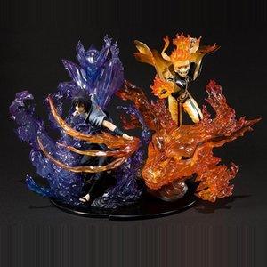 Anime Naruto: Shippuden Rikudousennin Modo Uzumaki Naruto Susanoo Uchiha Sasuke PVC Action Figure Collectible Model Toy Y200421