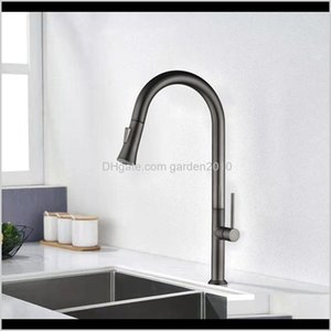 Kitchen Faucet Brushed Gold And Multicolor Pull Out Water Mixer Tap Single Handle Rotation Shower Faucets Bo5Hi 7Jnsy