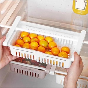 Adjustable Kitchen Organizer Refrigerator Storage Rack Fridge Freezer Shelf Holder Pull-out Drawer Organiser Space Saver Baskets