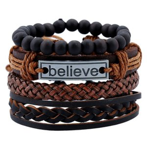 Punk Style Black Stone Beaded Braided Leather Bracelet Custom Engraving Believe Faith Bracelets