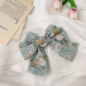 Bowknot Cheveux de mousseline de mousseline de soie pour femme Filles Coupes à cheveux Boho Accessoires de cheveux Mode Hairgrip Barrettes Floral Barrettes à cheveux 365 Q2