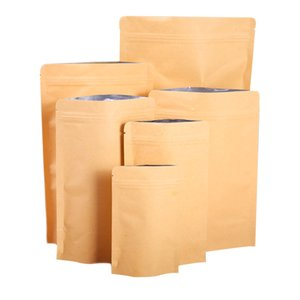 DHL 13 Sizes Sealing Brown Kraft Paper Self-sealing Bag Aluminized Moistureproof Stand-Up Bags Heat Sealable Resealable Zip Pouch Inner Foil Food Storage Packaging