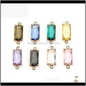 Charms Findings Components Jewelry Drop Delivery 2021 Charm Crystal K9 Glass Multicolor Geometry Stones For Women Bracelet Pendent Diy Access