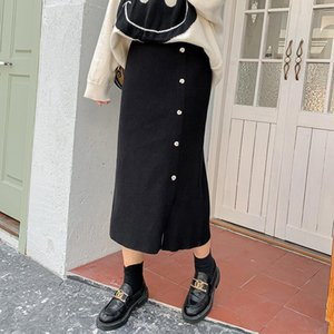 Skirts 2021 Autumn And Winter Women's Fashion Small Daisy Western Style Cut-off Knitted Skirt