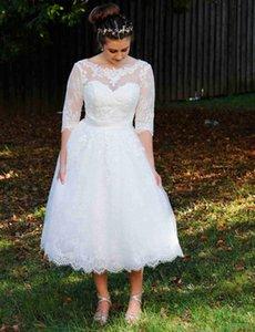 Half Sleeves A-Line Wedding Dresses V Backless Bridal Gowns Scoop Neck Tea Length Short Robe De Marrige