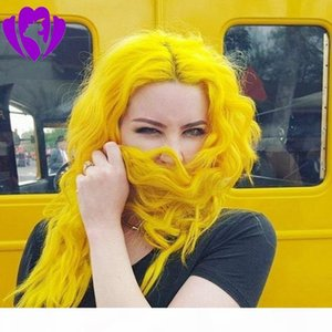 Long wavy Yellow Color wig Heat Resistant Hair 150% Denstiy Cosplay Perruque Masquera Synthetic Lace Front Wigs for Women