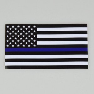 Thin BlueLine USA Police Flags Car Sticker USA Flag Trucks Computer Decal Sticker 11.43*6.35cm Car Decal Window Sticker CYZ3079