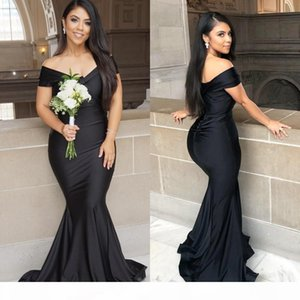 Fitted Arabic Black Evening Dresses Off Shoulder Formal Party Gowns Sweep Train Elastic Satin Mermaid Prom Dress Bridesmaid Dresses