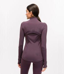 L-78 가을 겨울 새로운 지퍼 자켓 빠른 건조 요가 옷 긴 소매 엄지 구멍 훈련 재킷 여성 슬림 피트니스 코트