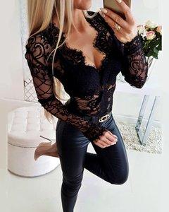 Women's Jumpsuits & Rompers 2021 Women Sexy Patchwork Slim Fit Basic Playsuit Sheer Eyelash Lace Long Sleeve Bodysuit
