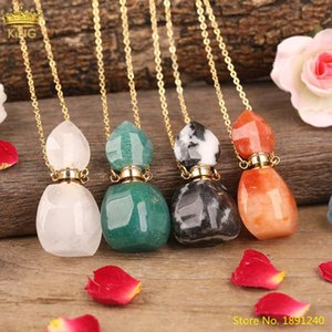 Natural White Pink Amethysts Quartz Red Agates Malaysia Jades Stone Perfume Bottle Diffuser Pendant Necklace Jewelry For Women Necklaces