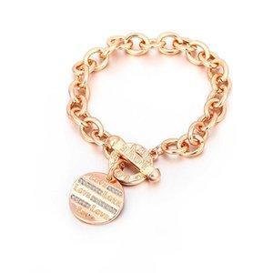 Alloy bracelet female punk letter rose gold T-shaped titanium steel bracelet Jewelry